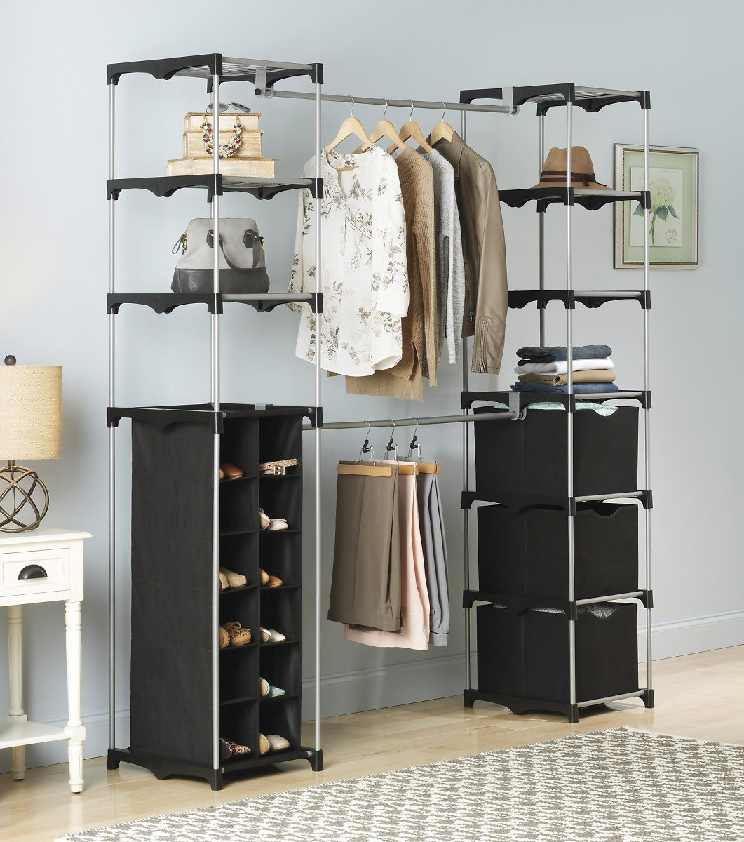 Whitmor Deluxe Double Rod Adjustable Closet Organization System - Silver & Black - 19.5