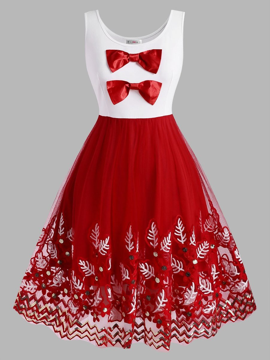 Christmas Bowknot Plant Embroidered Sequins Plus Size Dress - L