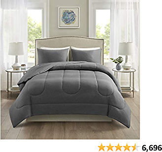 Comfort Spaces Rolland Cotton Comforter Set-Casual Heathered Design, Ultra Soft Jersey Knit Cover All Season Down Alternative Cozy Bedding with Matching Shams, King(104