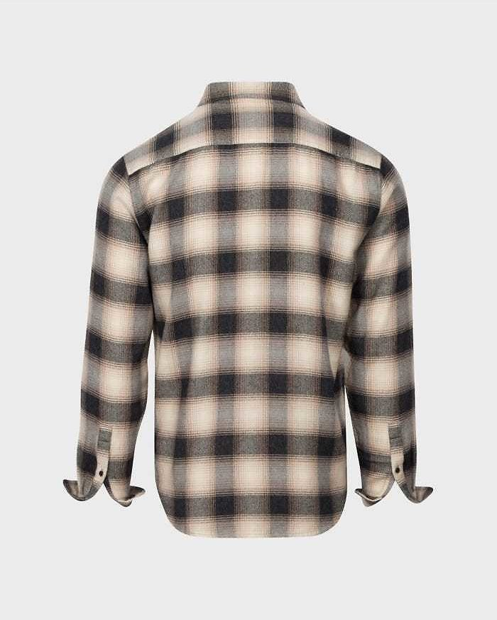 Double Pocket Shirt in Black Rust Plaid