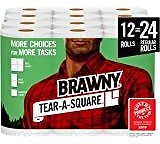 Brawny Tear-A-Square Paper Towels, Quarter Size Sheets, 16 Count of 128 Sheets Per Roll: Health & Personal Care