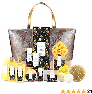 Spa Gifts for Women, Spa Luxetique Spa Gift Basket,Luxury 15pc Home Bath and Body Set Includes Bath Bombs, Bubble Bath, Hand Cream, Body Lotion, Handmade Tote Bag, Beauty Gifts Set for Women and Men