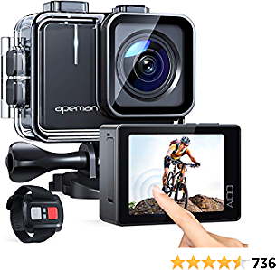 APEMAN 【Upgrade】 A100 Touch Screen Real 4K/50FPS Action Camera WiFi 20MP Waterproof Camera Underwater 40M with EIS Remote Control and 2x1350mAh Batteries, for Yutube/Vlog Videos