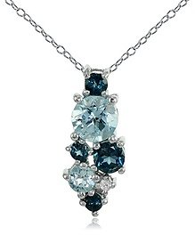 Sterling Silver London Blue, Blue and White Topaz Round Cluster Necklace