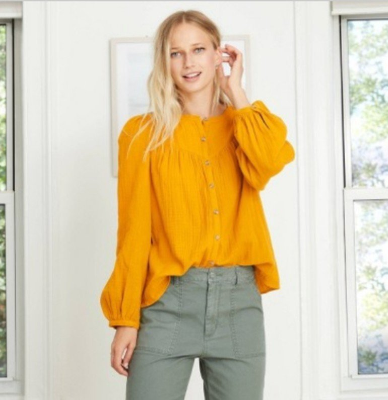Women's Puff Long Sleeve Button-Front Blouse - Universal Thread™