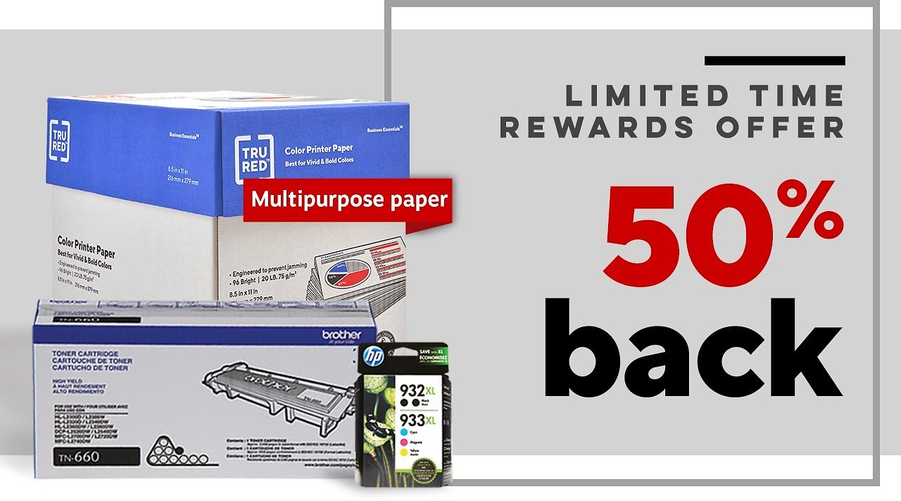 50% Back in Rewards When You Purchase Paper, Ink or Toner & An HP Printer Together.back