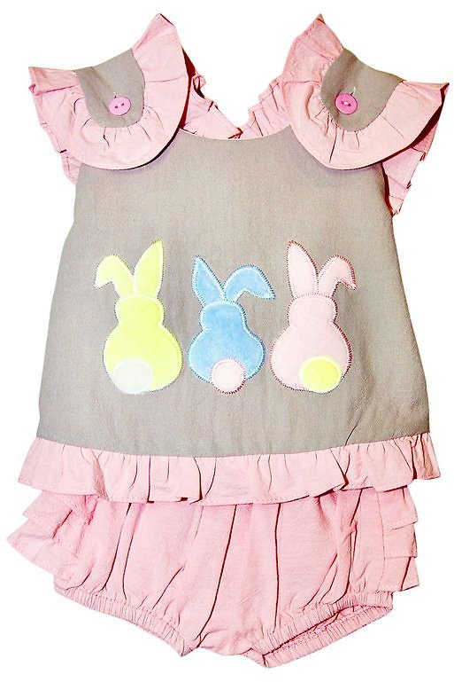 Gray & Pink Bunny Ruffle-Trim Sleeveless Top & Pink Bloomers - Infant & Toddler