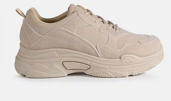 Missguided - Nude Chunky Sole Faux Suede Sneakers