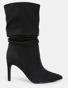 Missguided - Black Faux Suede Ruched Stiletto Ankle Boots