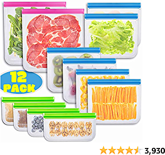 Reusable Storage Bags - 12 Pack BPA FREE Freezer Bags Food Container for Sous Vide Liquid Lunch Snack Sandwich Marinate Meat Fruits Cereal Zip Lock Size Gallon Large Plastic Containers