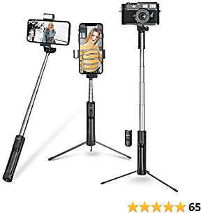 Selfie Stick, Mpow Selfie Stick Tripod, Lightweight Extendable Phone Tripod with 3 Level Fill Light and Wireless Remote, Compatible with IPhone 12 12 PRO 11 11 PRO XS Max XS Android Smartphone Camera