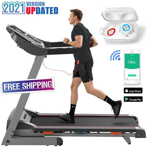 BESTBUY BESTBUY [+Wireless Earbuds]2021 Updated 3.0HP Electric Treadmill With Powerful Incline Exercise Jogging Running Machine For Home Gym