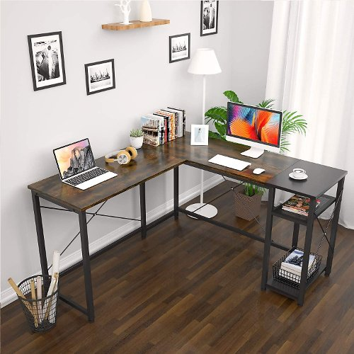 Foxemart L-Shaped Computer Desk, Industrial Corner Desk Writing Study Table with Storage Shelves + F/S