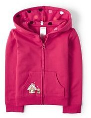 Girls Long Sleeve Embroidered Gingerbread Fleece Zip Up Hoodie - Winter Wonderland