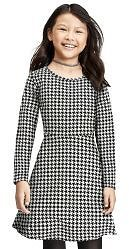 Girls Long Sleeve Houndstooth Knit Skater Dress