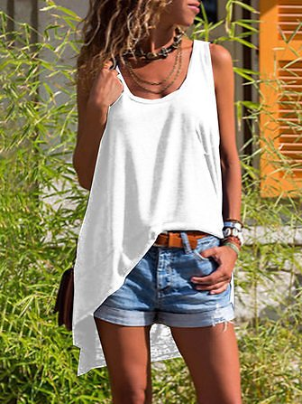 Irregular Hem Sleeveless T-shirts