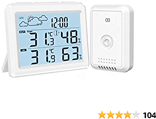 ORIA Weather Station, Indoor Outdoor Thermometer Hygrometer with Remote Sensor, Digital Wireless Temperature and Humidity Monitor with Remote Sensor, Time, Backlight
