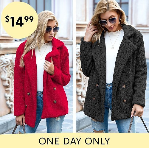 Today Only! Trendy Women's Plush Peacoats (Mult. Colors)
