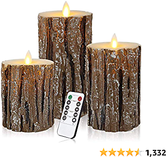 Aku Tonpa Pine Bark Effect Flameless Candles Battery Operated Pillar Real Wax Flickering Electric LED Candle Sets with Remote Control Cycling 24 Hours Timer, 4