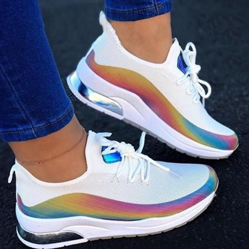 Women Colorful Running Sneakers Ladies Casual Shoes Lace Up Vulcanized Shoes Female Flat Walking Shoes Woman Sport Shoes