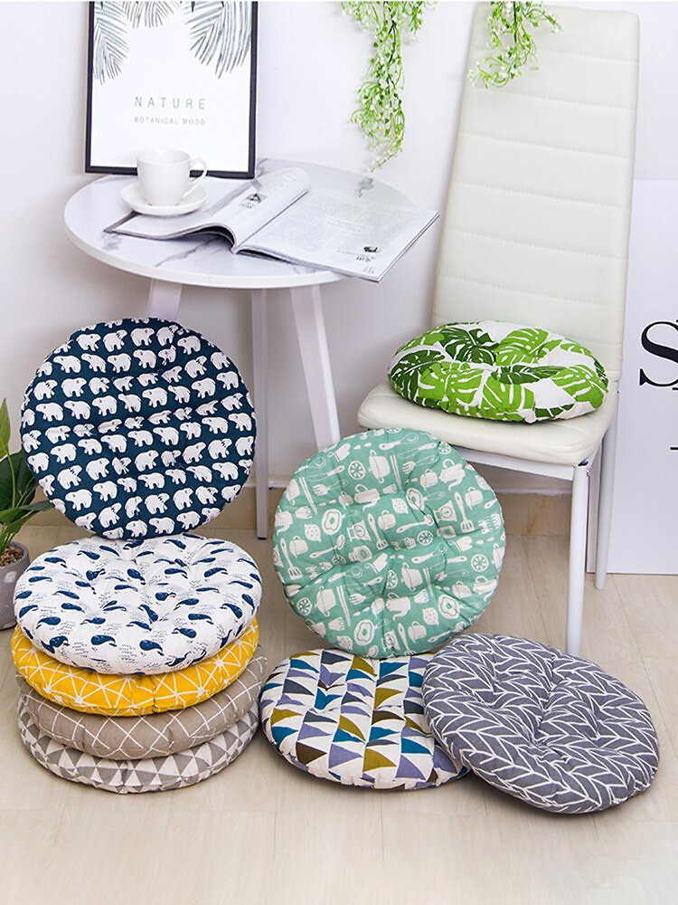 Thick Round Shape Breathable Linen Cotton Seat Cushion Summer Washable Chair Cushion 40/45/50cm 8cm