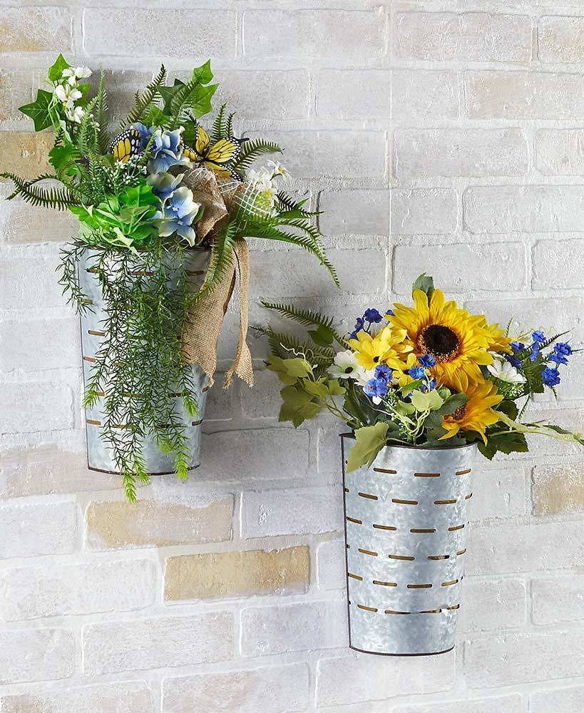 Lighted Floral Olive Bucket Wall Hangings