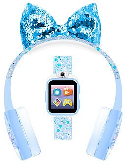 Kid's Playzoom Light Blue Sparkle Tpu Strap Smart Watch with Headphones Set 41mm