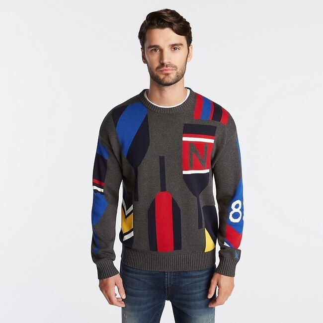N83 INTARSIA-KNIT GRAPHIC SWEATER