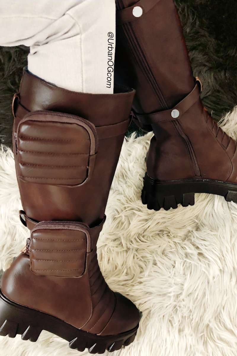 Pazzle Padded Zipper Pockets Tall Lugged Boot