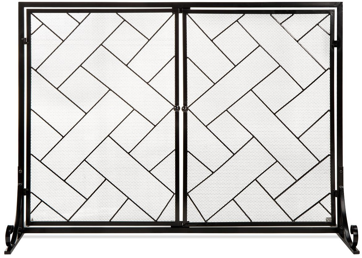 2-Panel Wrought Iron Geometric Fireplace Screen w/ Magnetic Doors - 44x33in