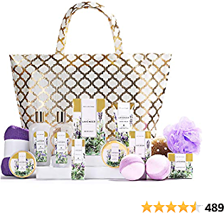 Spa Luxetique Spa Gift Basket, Lavender Spa Gift Sets for Women, Luxury 15 Pcs Bath and Body Gift Set,Relaxing Home Spa Kit with Bubble Bath, Bath Bombs, Massage Oil. Beauty Gift Baskets for Women.