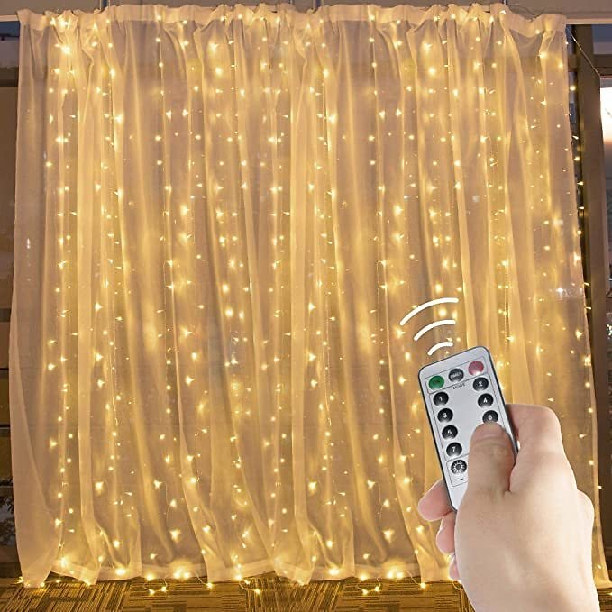 Hanging Window Curtain Lights 9.8 Feet Dimmable and Connectable with 300 Led, Remote, 8 Lighting Modes, Timer for Bedroom Wall H