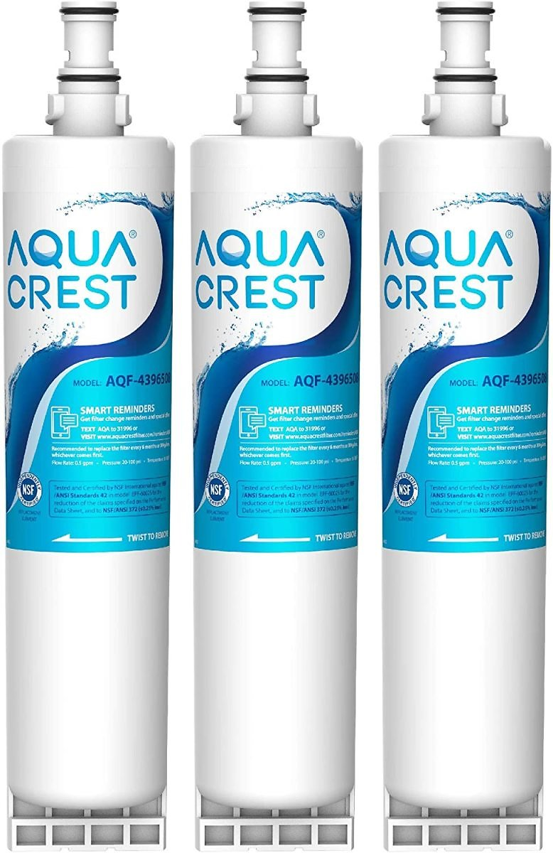 AQUA CREST 4396508 Refrigerator Water Filter, Replacement for Whirlpool 4396508, 4396510, Filter 5, 46-9010, PUR W10186668, NLC2