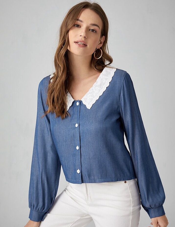 Contrast Collar Button Front Blouse