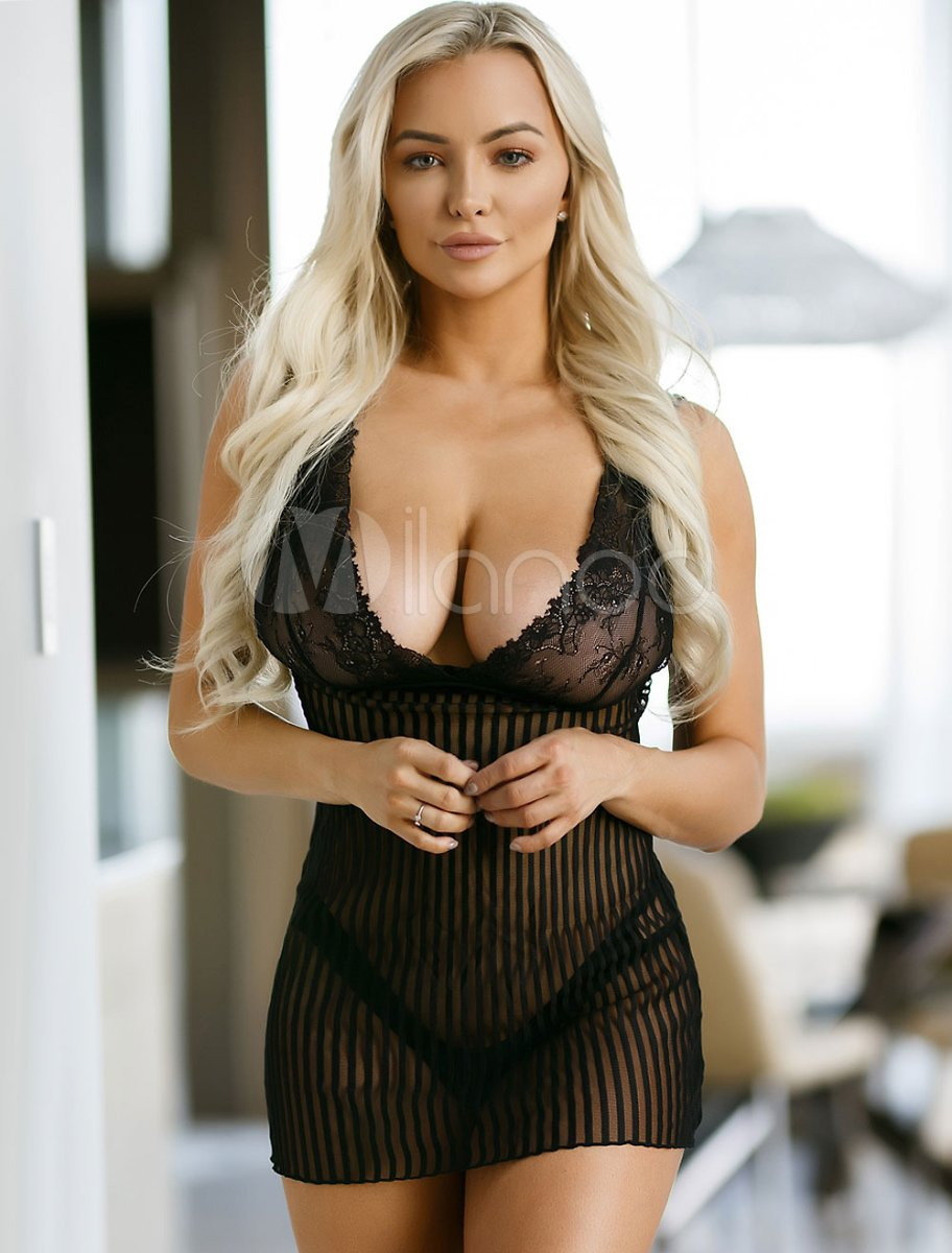 Women Black Chemise Lace Striped Nylon Sheer Sexy Dress With Panties