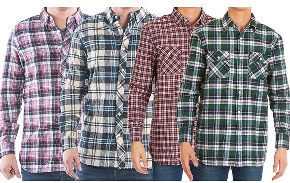 2-Pack Men's Flannel Button Down Shirts