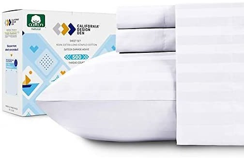 500-Thread-Count Sateen Weave Bed Sheets - 4 Piece Pure White Sheet Set - Full