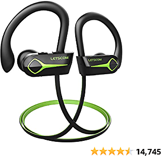 Letscom U8L Bluetooth Headphones, 15Hrs Playtime Wireless 5.0 Earbuds IPX7 Waterproof Sport Running In-Ear Headsets W/Mic Stereo Sound Noise Cancelling for Work Home Office