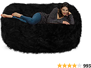 Chill Sack Bean Bag Chair: Huge 6' Memory Foam Furniture Bag and Large Lounger - Big Sofa WithPlush Faux Fur Cover