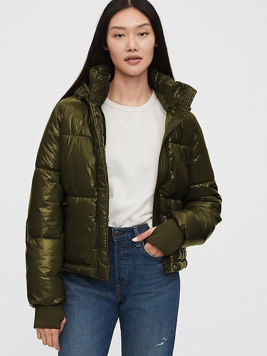 Upcycled Cropped Midweight Puffer Jacket | Gap