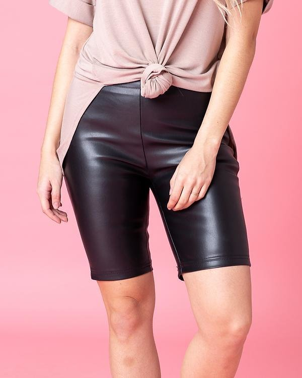 Angelica Faux Leather Bike Shorts   S-L