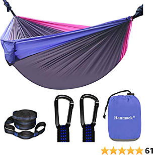 Camping Hammock, Double Hammock with 2 Tree Straps(16+2 Loops), Portable Lightweight Hammocks with 210T Parachute Nylon for Outdoor, Beach, Travel, Hiking, Yard Gear, Kids Hammock for Outside