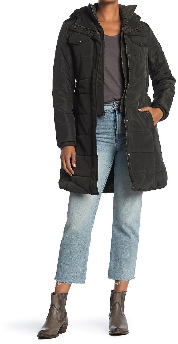 Lucky Brand Womens Missy Long Hooded Puffer Jacket