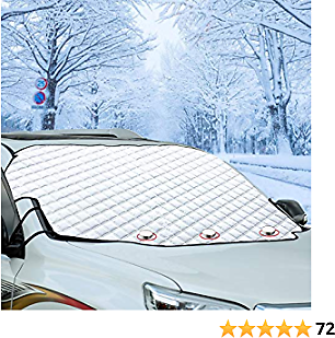 Windshield Snow Ice Cover Winter Frost Cover for Car Wind-Proof Magnetic Edge Keeps Ice Snow Frost Off Fits Most Vehicle