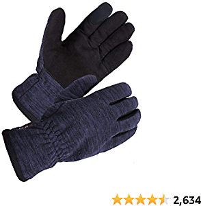 SKYDEER Winter Touch Screen Gloves with Soft Premium Genuine Deerskin Suede Leather and Warm Windproof Polar Fleece (SD8666T/XL, Warm 3M Thinsulate Insulation)