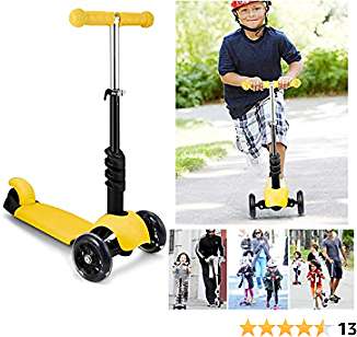 Shaofu Kids Scooter, 3-in-1 Kick Scooter with Removable & Adjustable Seat – Foldable 3 Wheels Scooter for Kids & Toddlers Girls or Boys 2 Years Old and Up