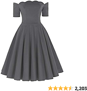 PAUL JONES Women's 1950s Off Shoulder Swing Dress Knee Length Vintage Dress