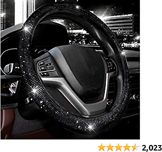 Valleycomfy Steering Wheel Cover for Women Bling Bling Crystal Diamond Sparkling Car SUV Wheel Protector Universal Fit 15 Inch (Black with Black Diamond, Standard Size(14