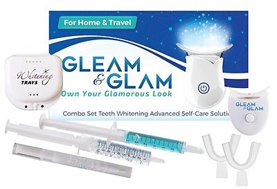 GLEAM&GLAM Teeth Whitening Kit, LED Light, 36% Carbamide Peroxide Gel, Trays, Case and Travel Pouch. Whitening Pen Included! Pro