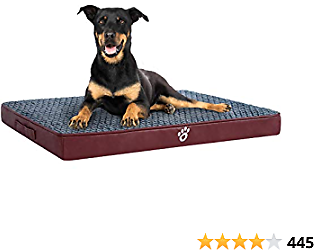 OQQ Orthopedic Dog Bed for Small/Medium/Large Dogs | Dog Beds with Washable Removable Covers | Pet Mat for Dog Crates | Durable PU Leather and Non-Slip Bottom Pet Bed